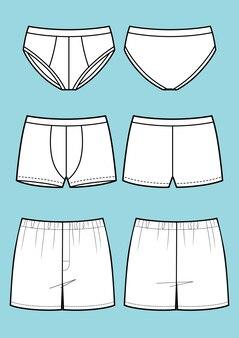 Man ondergoed set (broek, boxershort, slip) vector