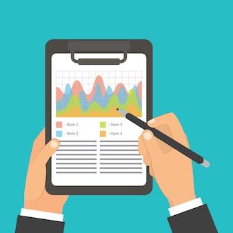 Man ondertekening papieren document, handtekening, grafiek, items lijst.