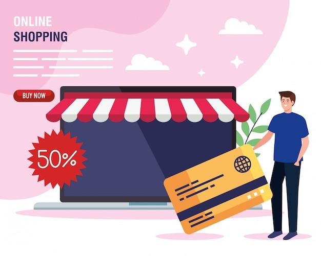 Man online winkelen op website of mobiel, concept marketing en digitale marketing in laptop met korting en creditcard