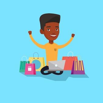 Man online winkelen.