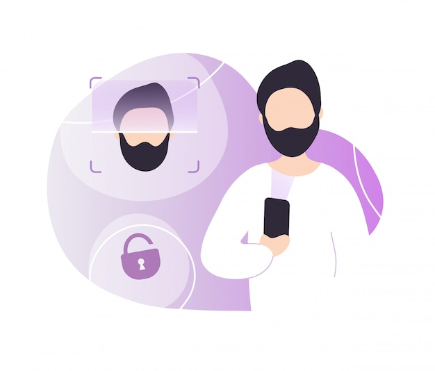 Man ontgrendelen telefoon met gezichtsherkenning