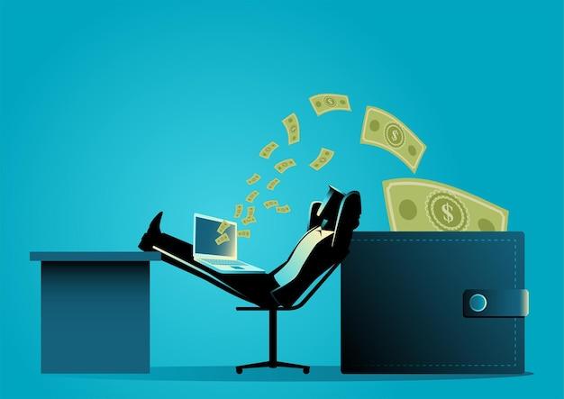 Man ontspannen terwijl het ontvangen van geldoverdracht van laptop naar portemonnee. online bedrijf, freelancer, investeringsconcept