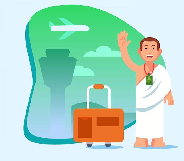 Man op de luchthaven, klaar voor een pilgimage-reis naar mekka.