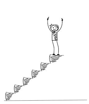 Man op de top van de trap, cartoon hand getrokken vector achtergrond.