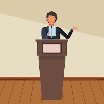 Man op een podium