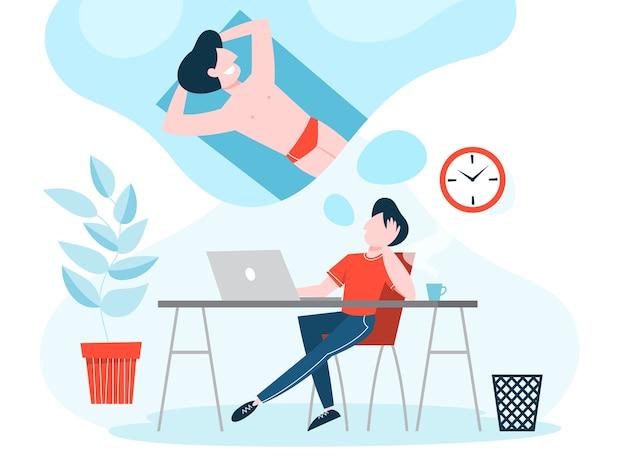 Man op het werk droomt van zomervakantie
