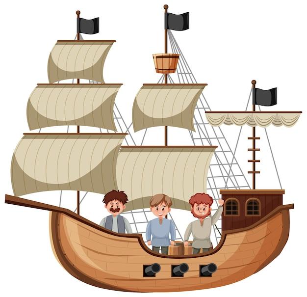 Man op junk schip op witte achtergrond
