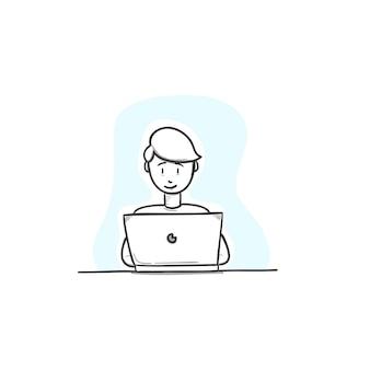 Man op laptop - werk man op laptop hand tekenen