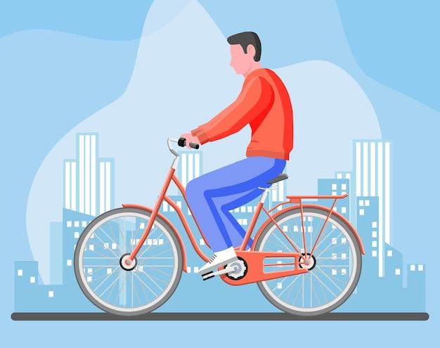 Man op oude stadsfiets. guy rijden vintage gele fiets geïsoleerd op wit.