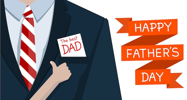 Man op pakken en hand kind graag op papier de beste vader