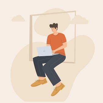 Man op raam werk vanuit huis