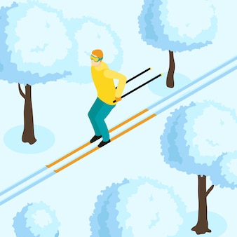 Man op ski isometrische illustratie