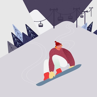 Man op snowboard in de sneeuw bergen, wintersport mensen karakter silhouetten activiteiten. actieve rust snowboarden.