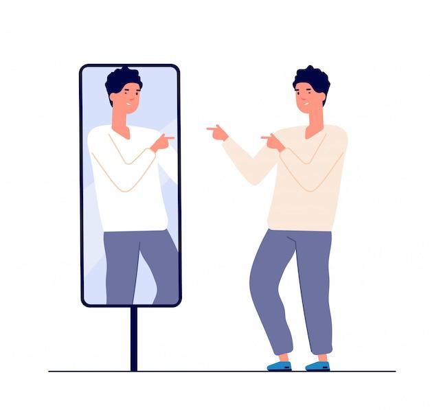 Man op spiegel. kerel zelf uitziende reflectie