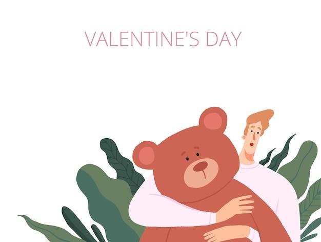 Man op st. valentine. geïsoleerd op witte achtergrond.