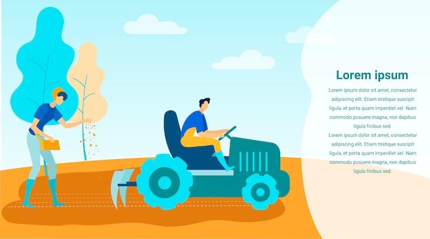Man op tractor cultiveert land vrouw zaait zaden