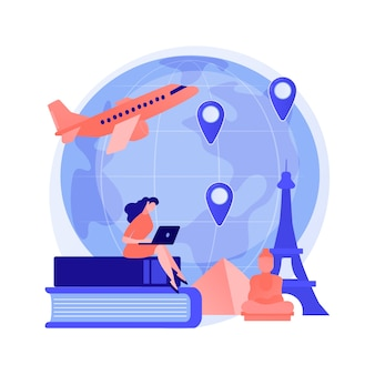 Man op vakantie-avontuur. internationaal toerisme, wereldwijde sightseeingtour, studentenuitwisselingsprogramma