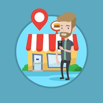Man op zoek naar restaurant in zijn smartphone.