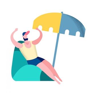 Man op zomervakantie platte vectorillustratie