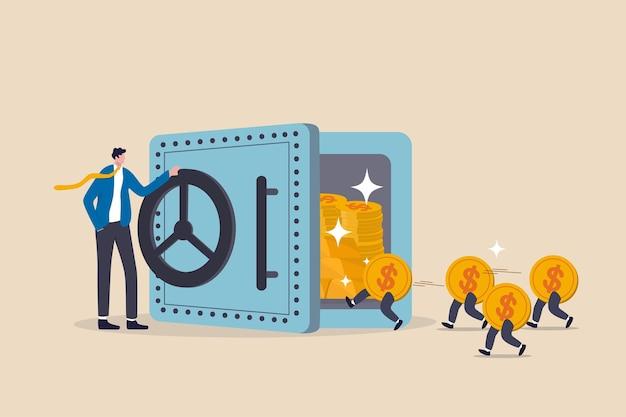 Man open kluis met rijke schat erin en geldmunten die binnenlopen