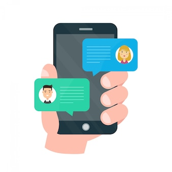 Man persoon chatten op mobiel met vrouw
