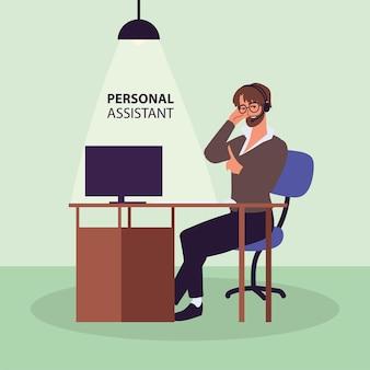 Man persoonlijke assistent aan het werk