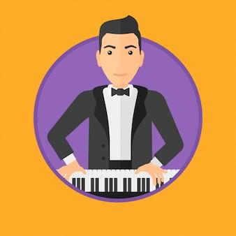 Man piano spelen.