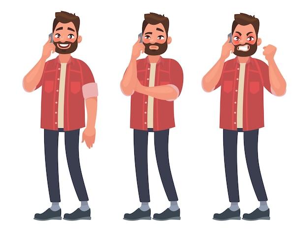 Man praat aan de telefoon met verschillende emoties. vrolijk, attent, boos. in cartoon-stijl