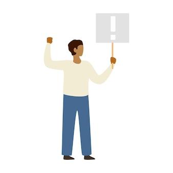 Man protesteert en houdt een poster bij de hand. sociale activist. luide aankondiging. demonstratie, protest, staking, politiek