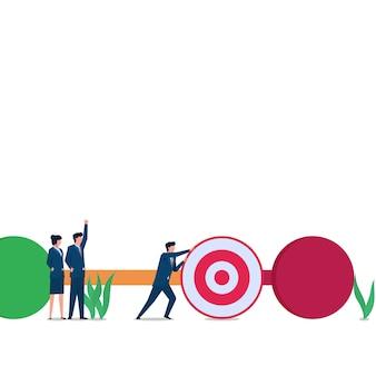 Man push doelwit tot laatste checkpoint metafoor van de voortgang. zakelijke platte concept illustratie.