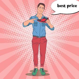 Man reclame voor nieuwe sportschoenen