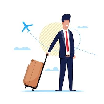 Man reizen per vliegtuig rond wereld cartoon flat.