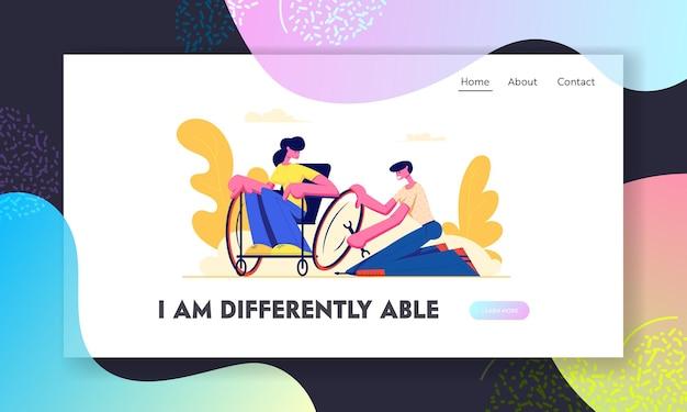 Man reparatie wiel op rolstoel waar jonge gehandicapte vrouw zitten. liefde, familie, menselijke relaties, handicap, ongeldige hulp. website-bestemmingspagina, webpagina. cartoon platte vectorillustratie