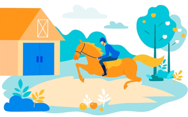 Man rider rides horse op tuinachtergrond. vector