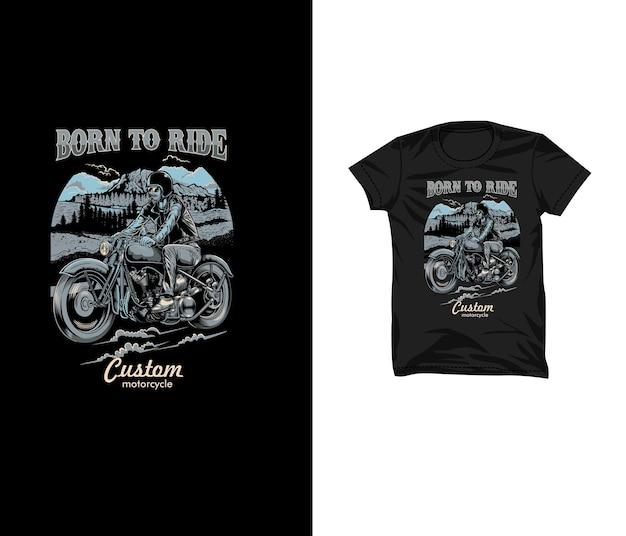 Man rider vintage illustratie t-shirtontwerp