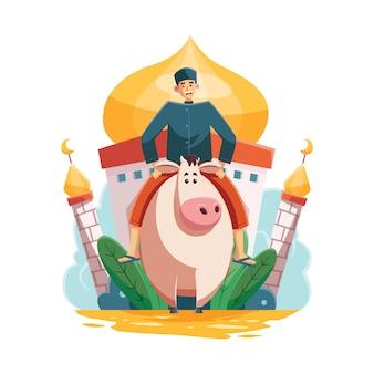 Man riding cow voor eid al adha