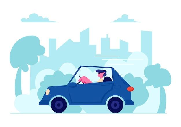 Man rijden auto op stedelijk stadsgezicht