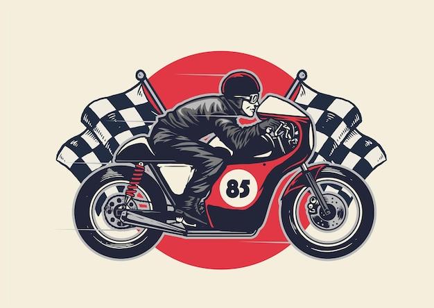 Man rijden café racer in de hand tekenen stijl