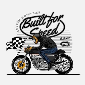 Man rijden caferacer motorfiets