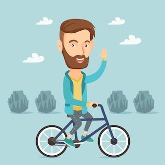Man rijden fiets vectorillustratie.