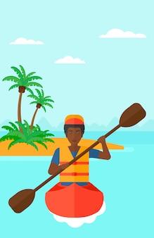 Man rijden in kano