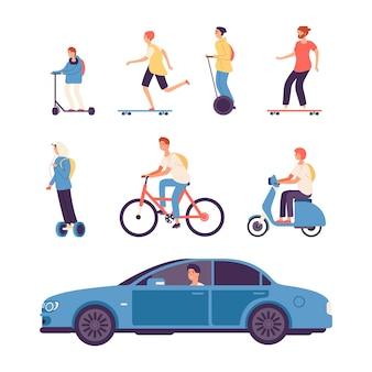 Man rijden. jongens op scooter en fiets, gyroscooter en skateboard. mannelijke rijdende auto vectorillustratie. fietsscooter, man met de auto rijden