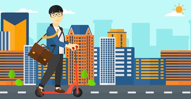 Man rijden op scooter