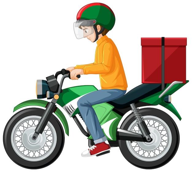 Man rijden scooter op wit