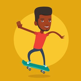 Man rijden skateboard vector illustratie.