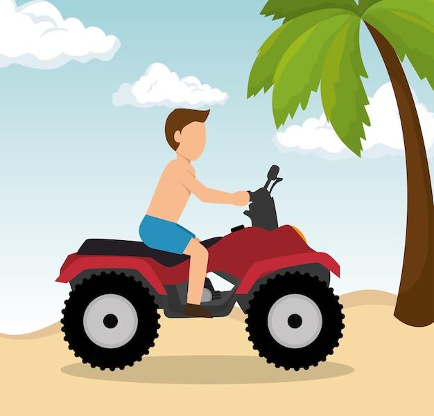 Man rijdt atv op het strand