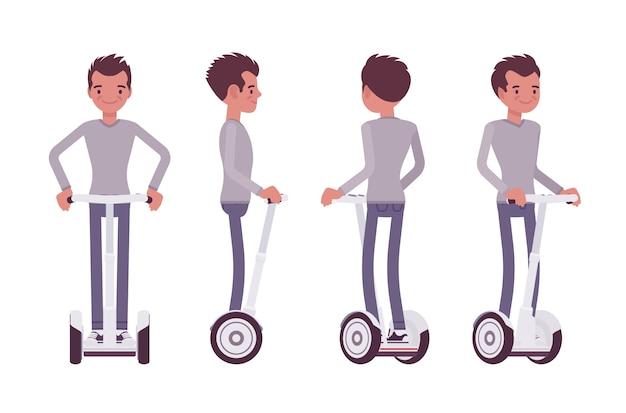 Man rijdt op een witte elektrische scooter