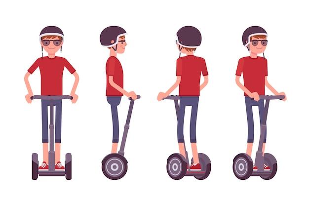 Man rijdt op een zwarte elektrische scooter