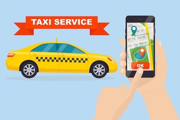 Man roept een taxi-auto door smartphone