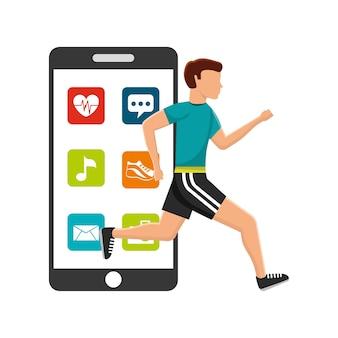 Man runner sport smartphone apps technologie